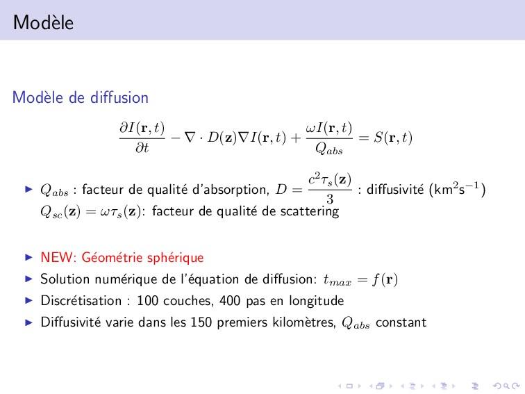 Mod` ele Mod` ele de diffusion ∂I(r, t) ∂t − ∇ ·...