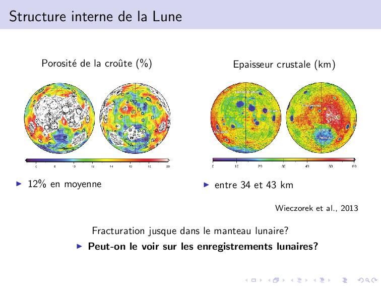 Structure interne de la Lune Porosit´ e de la c...