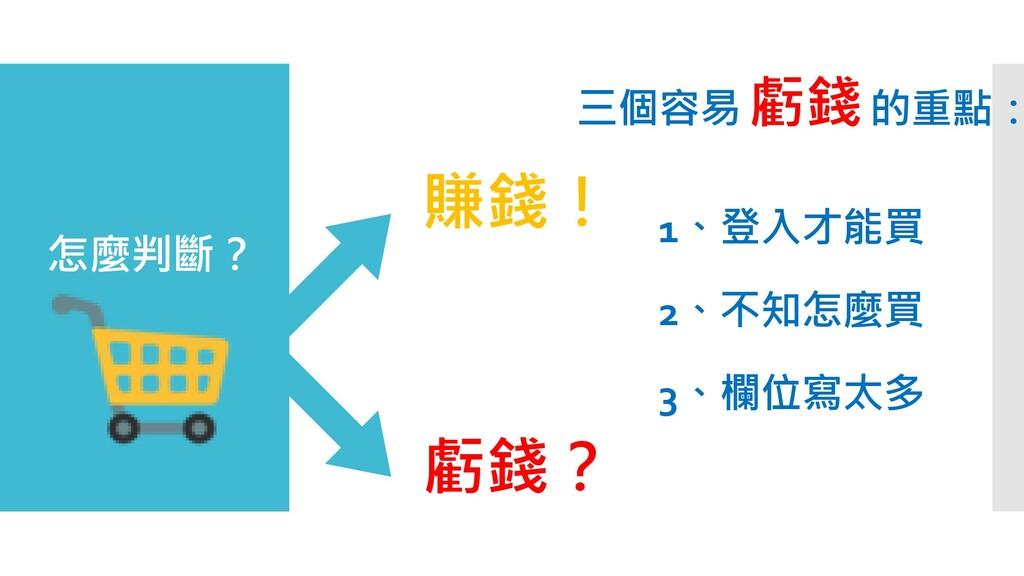 三個容易 虧錢的重點: 賺錢! 虧錢? 怎麼判斷? 1、登入才能買 2、不知怎麼買 3、欄位寫...