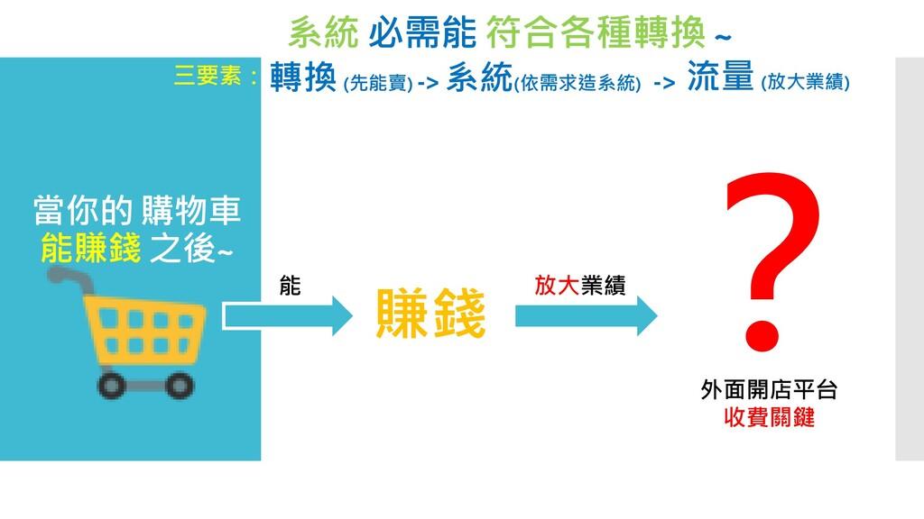 系統 必需能 符合各種轉換 ~ 三要素:轉換 (先能賣) -> 系統(依需求造系統) -> 流...