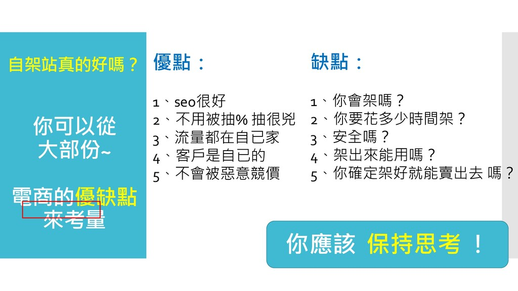 自架站真的好嗎? 你可以從 大部份~ 電商的優缺點 來考量 優點: 1、seo很好 2、不用被...