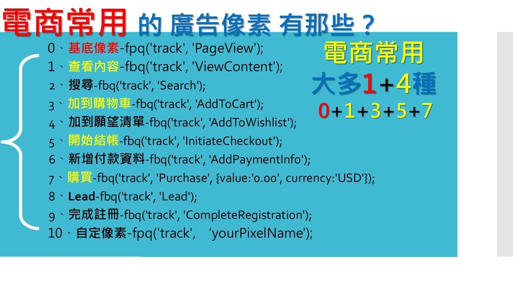 電商常用 的 廣告像素 有那些? 1、查看內容-fbq('track', 'ViewConte...