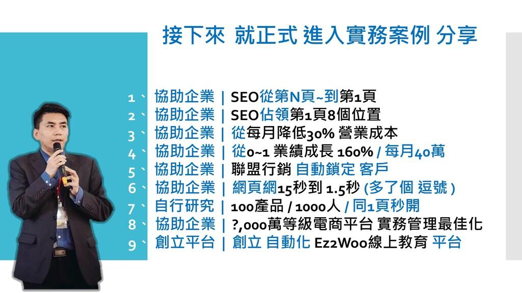接下來 就正式 進入實務案例 分享 1、 協助企業 | SEO從第N頁~到第1頁 2、 協助企...