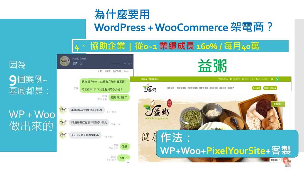因為 9個案例~ 基底都是: WP + Woo 做出來的。 為什麼要用 WordPress +...