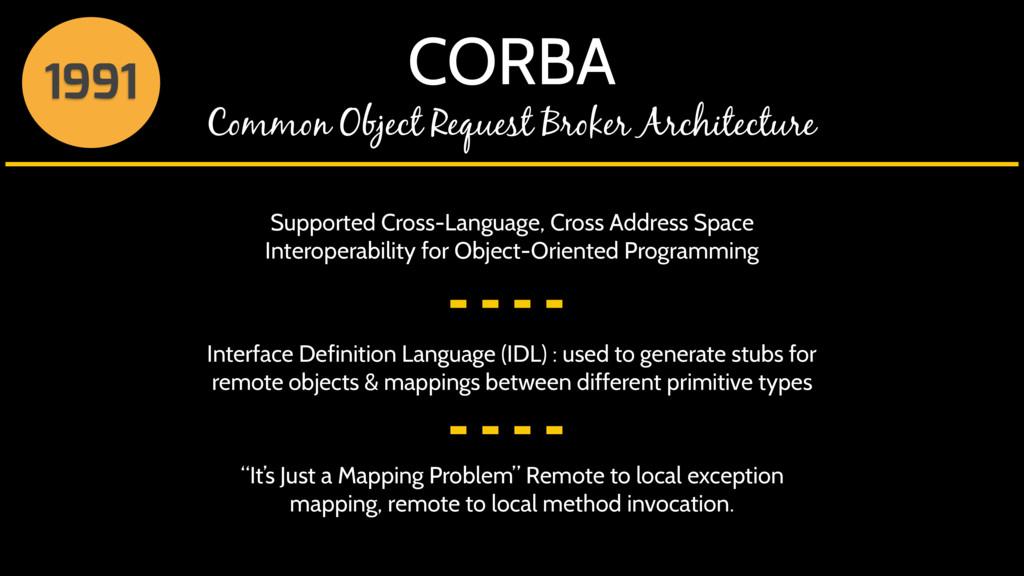 CORBA Common Object Request Broker Architecture...