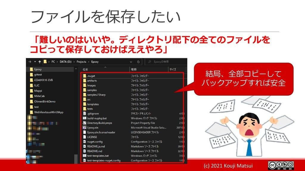 (c) 2021 Kouji Matsui ファイルを保存したい 「難しいのはいいや。ディレク...