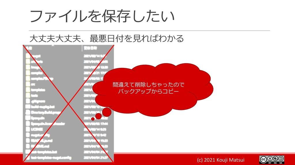 (c) 2021 Kouji Matsui ファイルを保存したい 大丈夫大丈夫、最悪日付を見れ...
