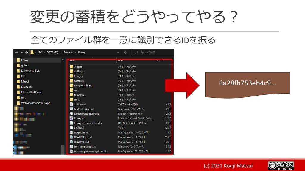 (c) 2021 Kouji Matsui 変更の蓄積をどうやってやる? 全てのファイル群を一...