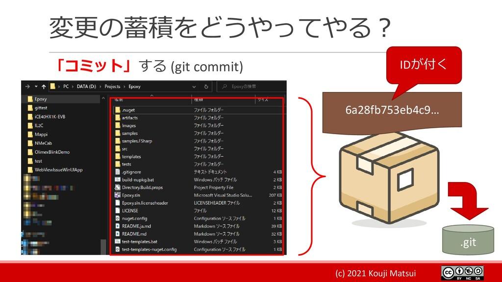 (c) 2021 Kouji Matsui 変更の蓄積をどうやってやる? 「コミット」する (...