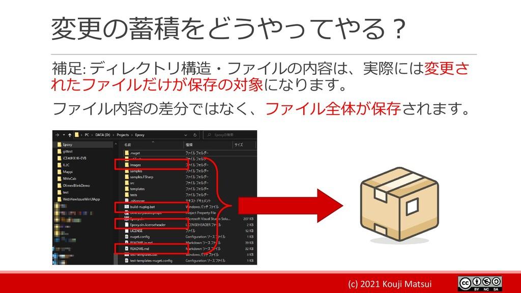 (c) 2021 Kouji Matsui 変更の蓄積をどうやってやる? 補足: ディレクトリ...