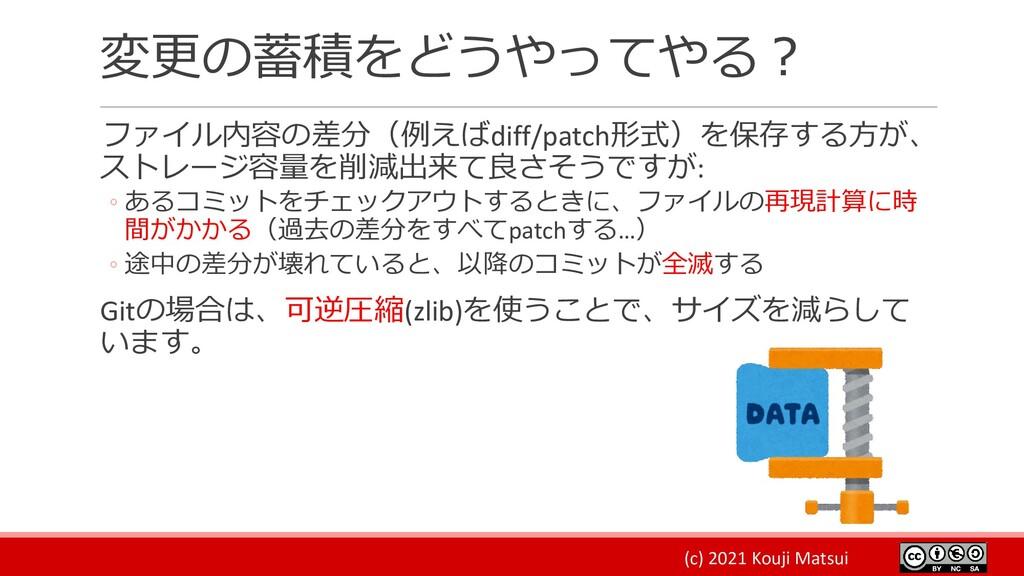 (c) 2021 Kouji Matsui 変更の蓄積をどうやってやる? ファイル内容の差分(...