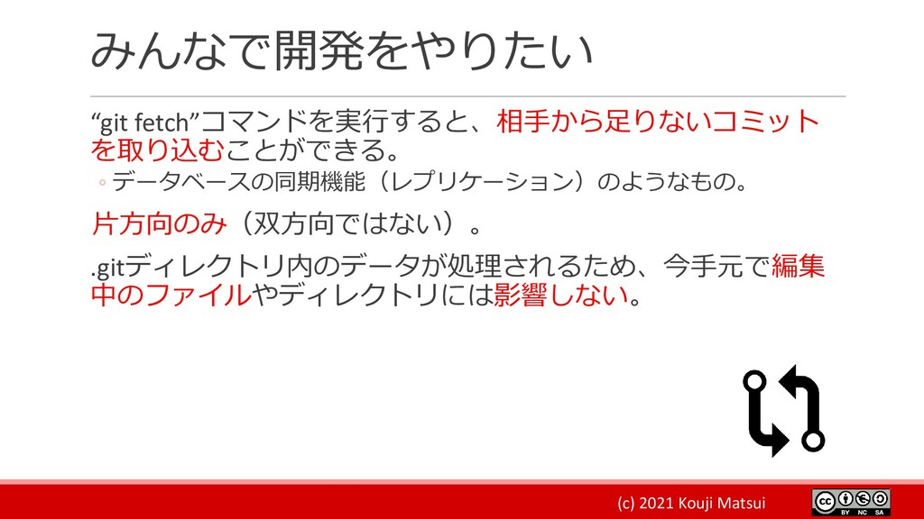 "(c) 2021 Kouji Matsui みんなで開発をやりたい ""git fetch""コマ..."