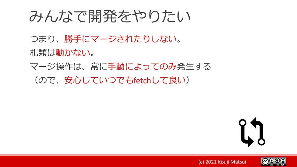 (c) 2021 Kouji Matsui みんなで開発をやりたい つまり、勝手にマージされた...
