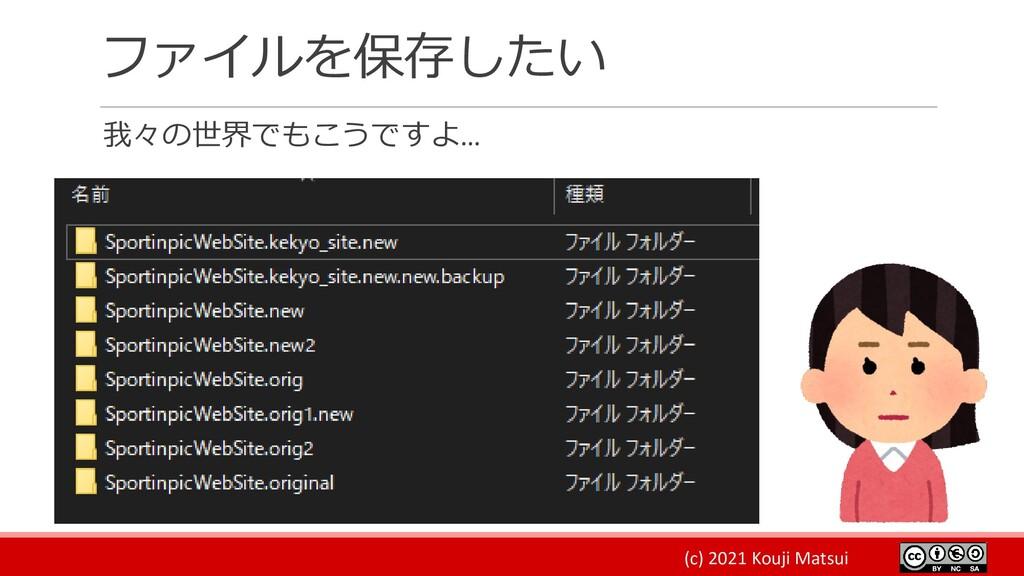 (c) 2021 Kouji Matsui ファイルを保存したい 我々の世界でもこうですよ…