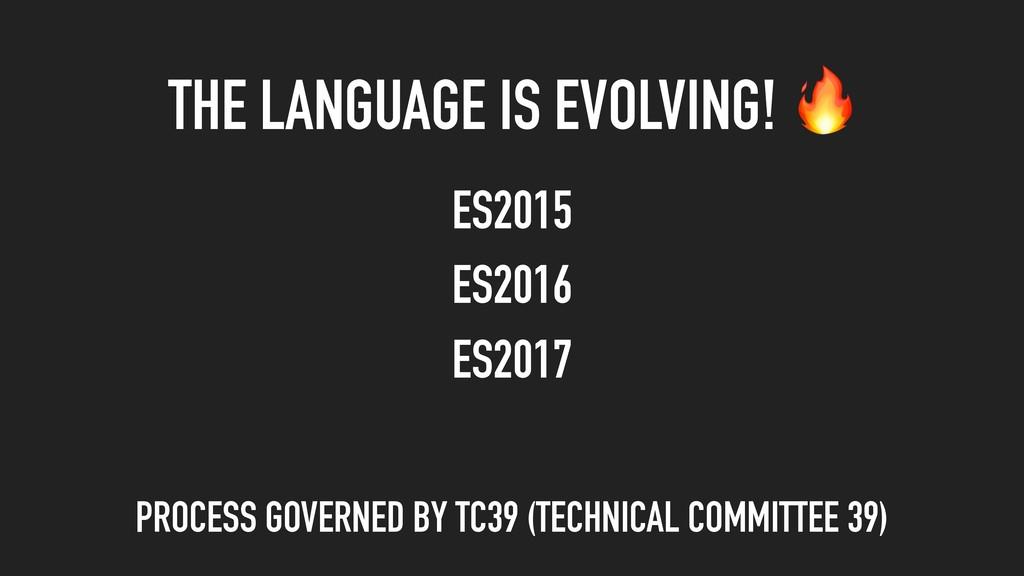 ES2015 ES2016 ES2017 THE LANGUAGE IS EVOLVING! ...