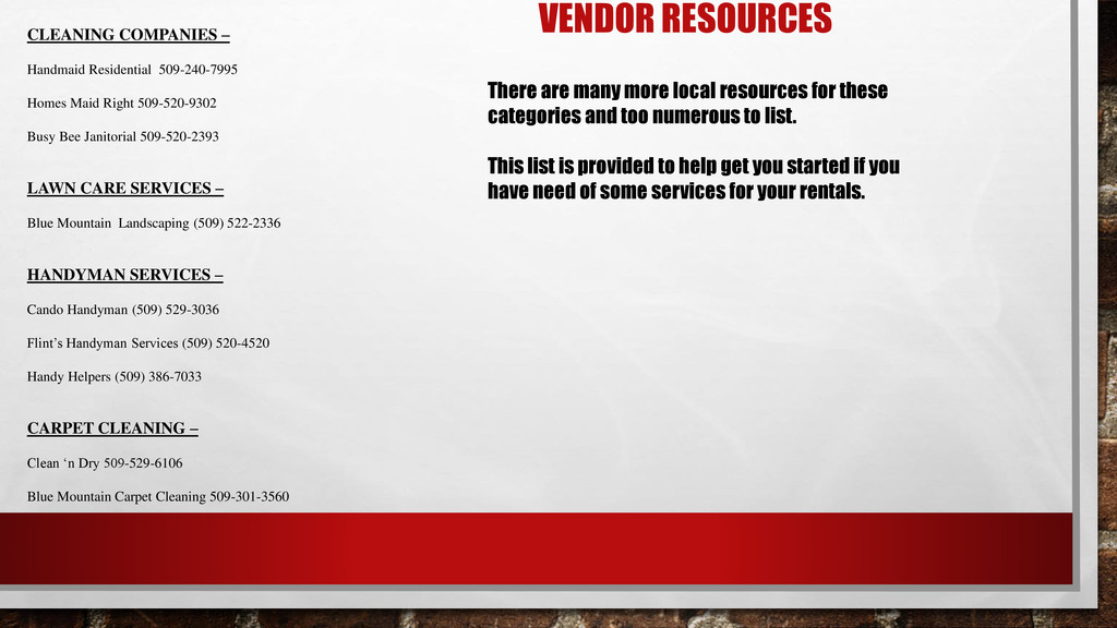VENDOR RESOURCES CLEANING COMPANIES – Handmaid ...