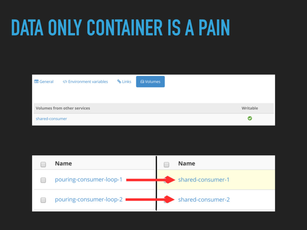 DATA ONLY CONTAINER IS A PAIN