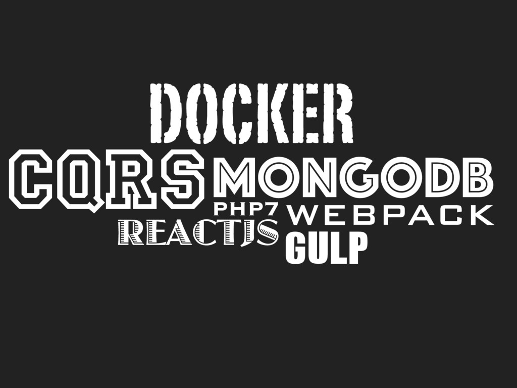 CQRS PHP7 DOCKER REACTJS MONGODB WEBPACK GULP