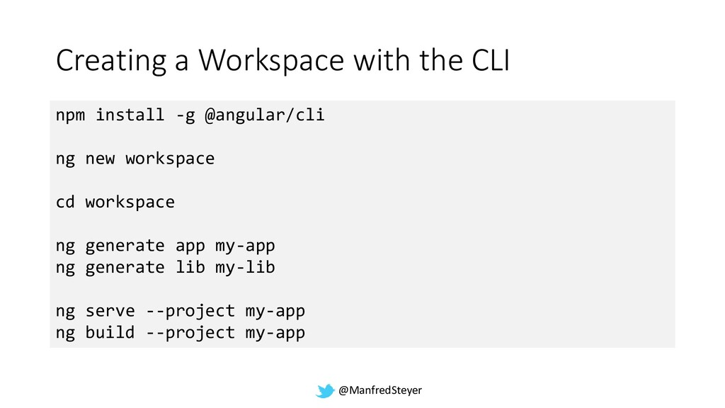 @ManfredSteyer Creating a Workspace with the CL...