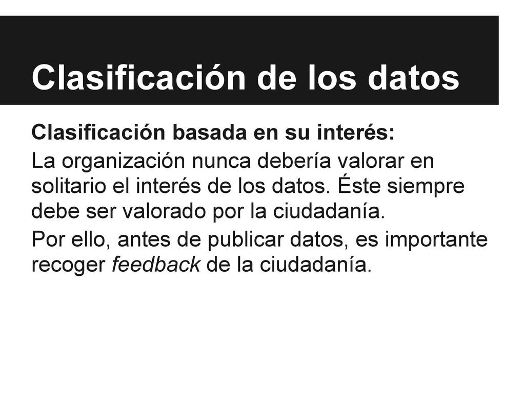 Clasificación de los datos Clasificación basada...