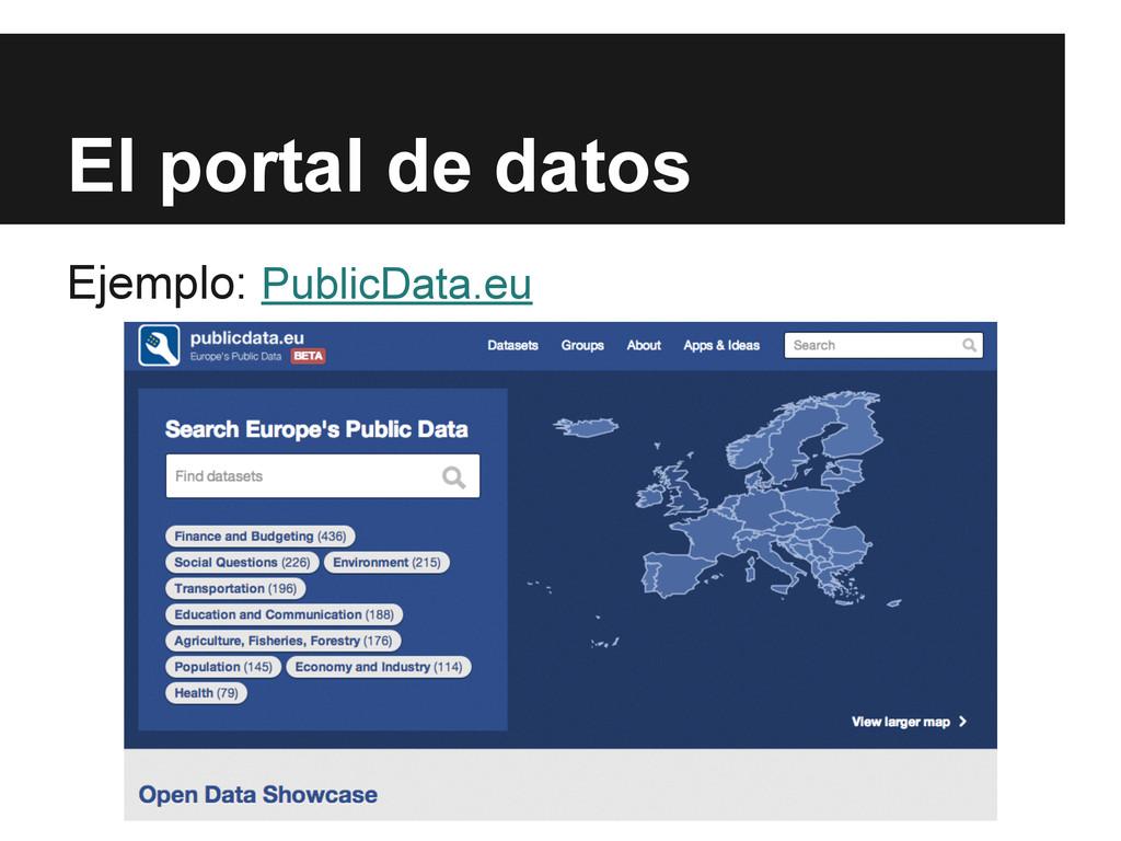 El portal de datos Ejemplo: PublicData.eu