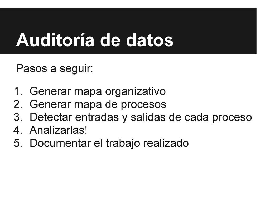 Auditoría de datos Pasos a seguir: 1. Generar m...