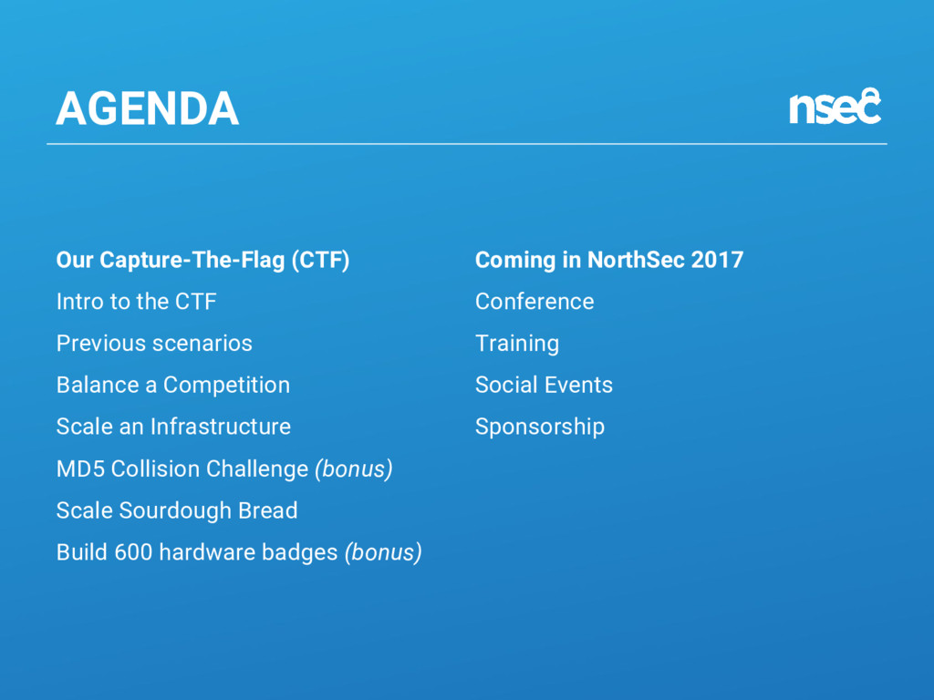 AGENDA Our Capture-The-Flag (CTF) Intro to the ...