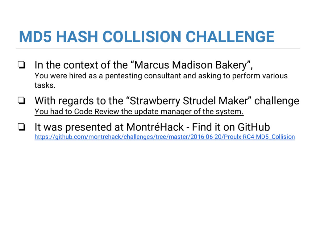 MD5 HASH COLLISION CHALLENGE ❏ In the context o...