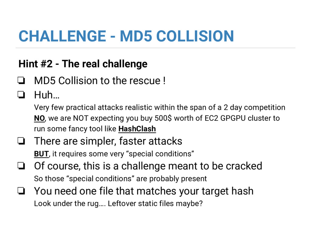 CHALLENGE - MD5 COLLISION Hint #2 - The real ch...