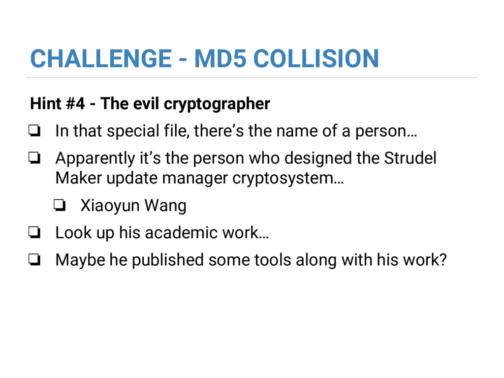 CHALLENGE - MD5 COLLISION Hint #4 - The evil cr...