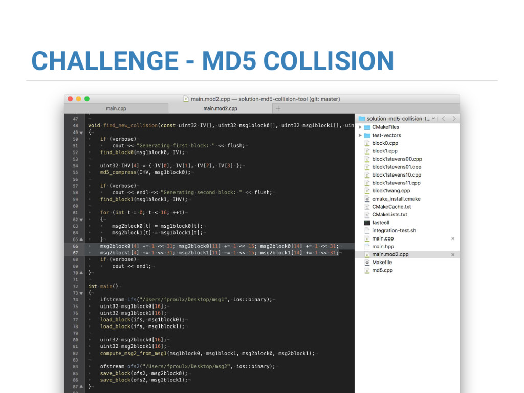 CHALLENGE - MD5 COLLISION