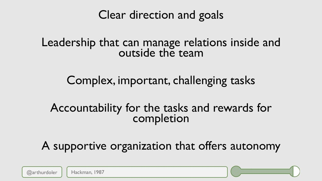 @arthurdoler Clear direction and goals Leadersh...