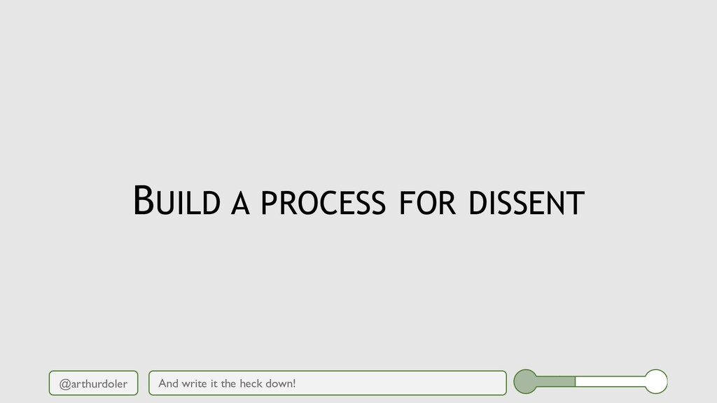 @arthurdoler BUILD A PROCESS FOR DISSENT And wr...