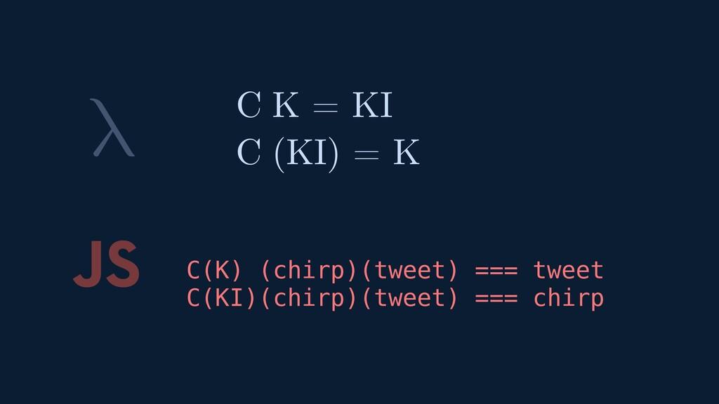 λ JS C(K) (chirp)(tweet) === tweet C(KI)(chirp)...