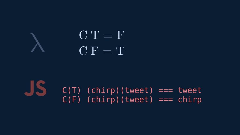 λ JS C(T) (chirp)(tweet) === tweet C(F) (chirp)...