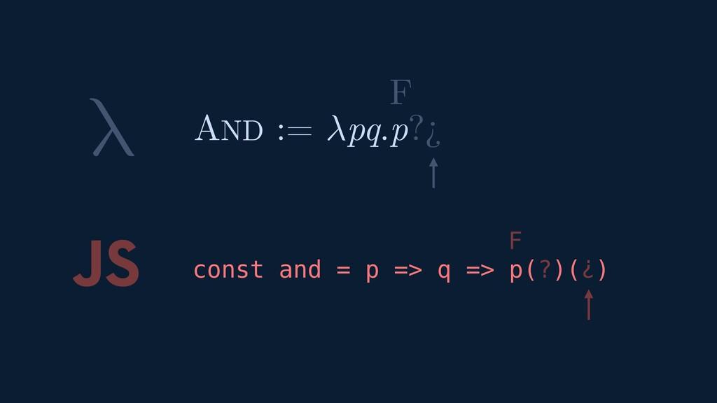 λ JS const and = p => q => p(?)(¿) AND := pq.p?...