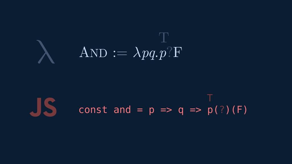 λ JS const and = p => q => p(?)(F) AND := pq.p?...