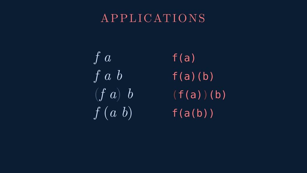 f a f(a) f a b f(a)(b) (f a) b (f(a))(b) f (a b...