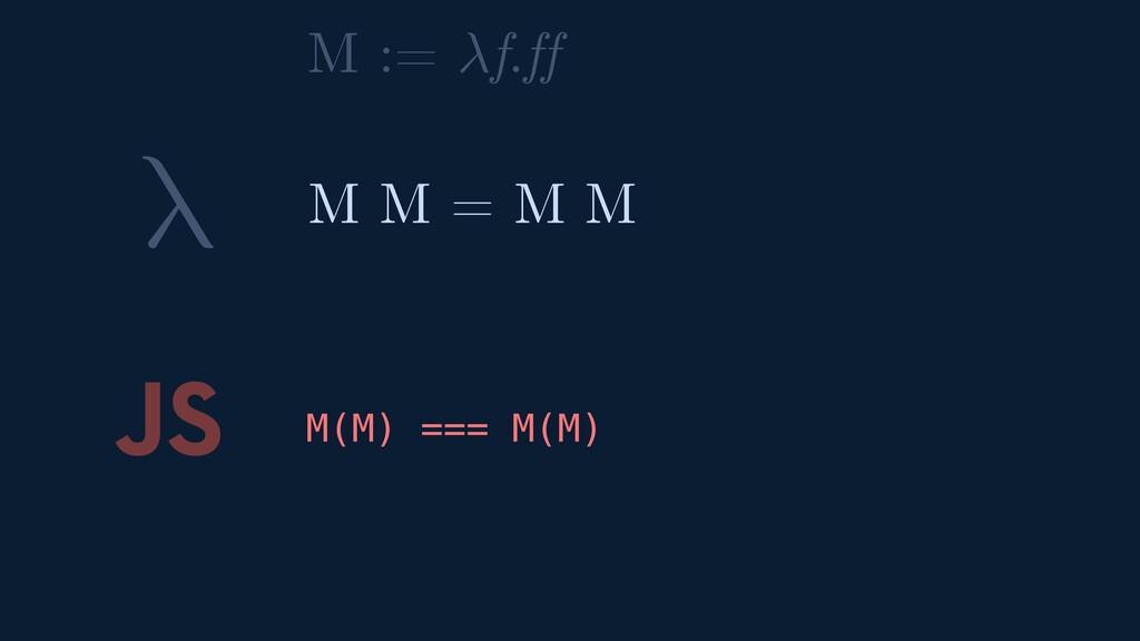 λ JS M(M) === M(M) M M = M M M := f.ff