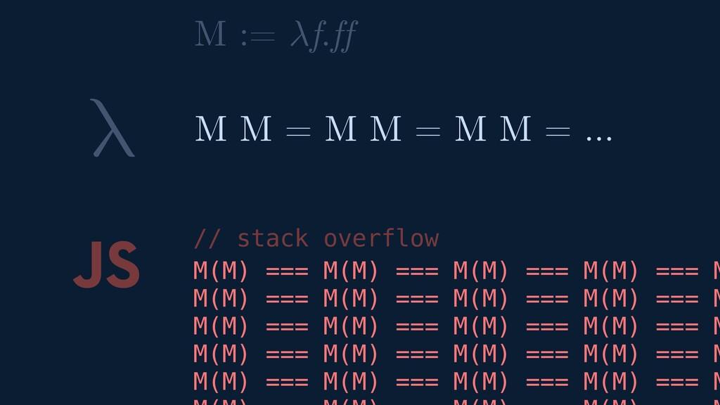 λ JS M(M) === M(M) === M M = M M = M M = … // s...