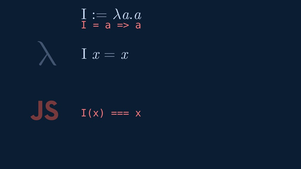 λ JS I(x) === x I x = x I := a.a I = a => a