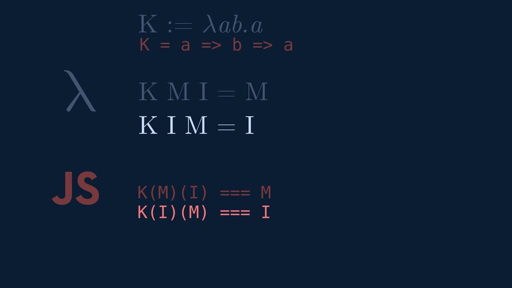 λ JS K(M)(I) === M K(I)(M) === I K M I = M K I ...