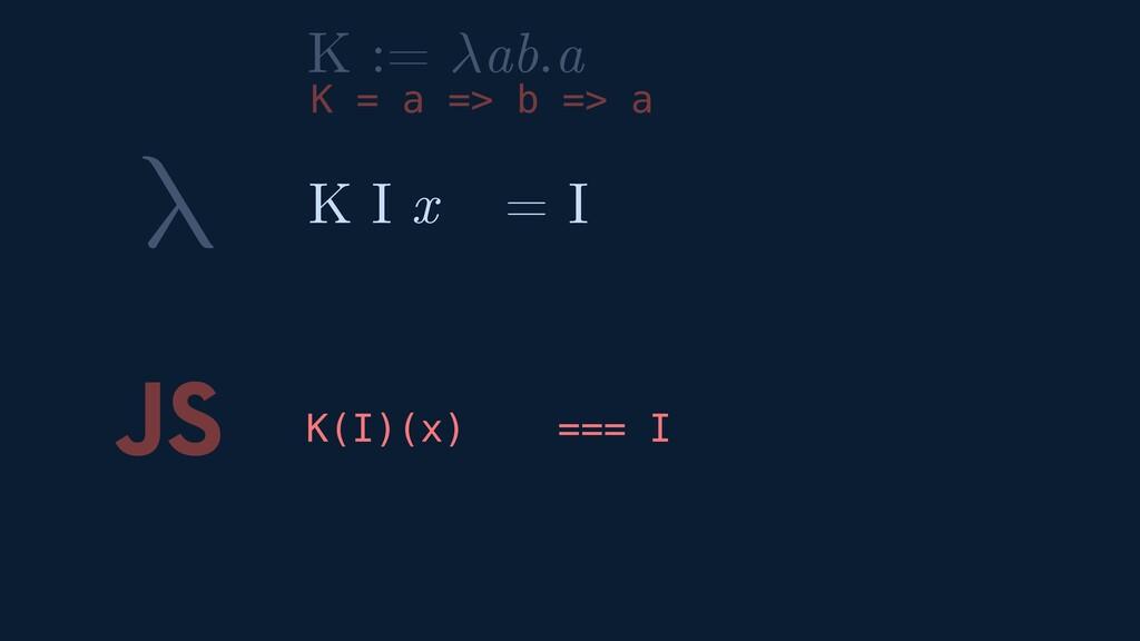 λ JS K(I)(x) === I K I x = I K := ab.a K = a =>...