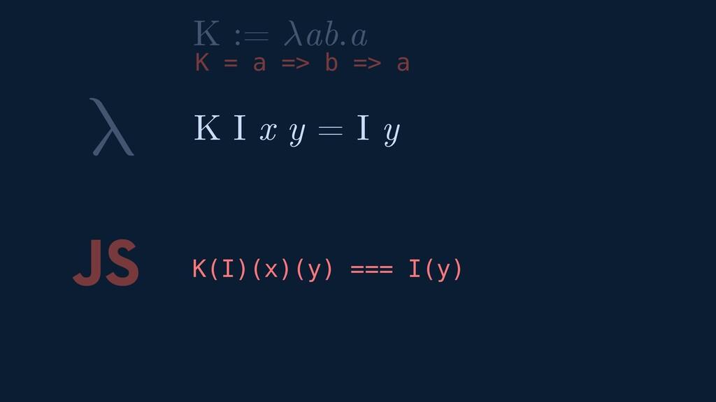 λ JS K(I)(x)(y) === I(y) K I x y = I y K := ab....