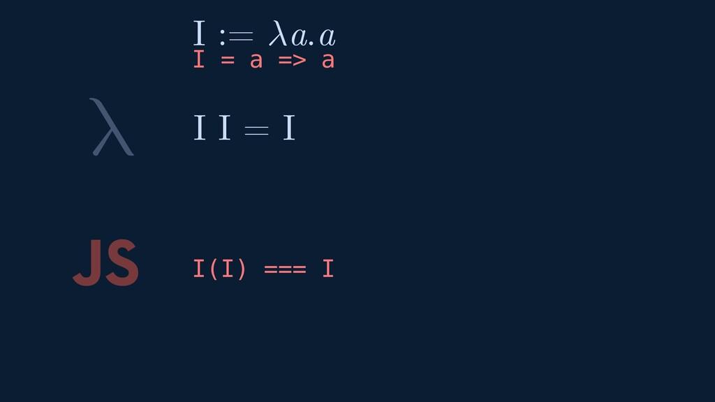 λ JS I(I) === I I I = I I := a.a I = a => a