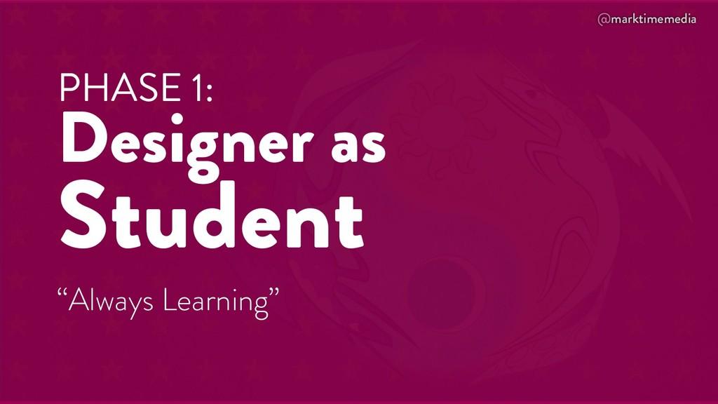 """@marktimemedia PHASE 1: Designer as Student """"Al..."""