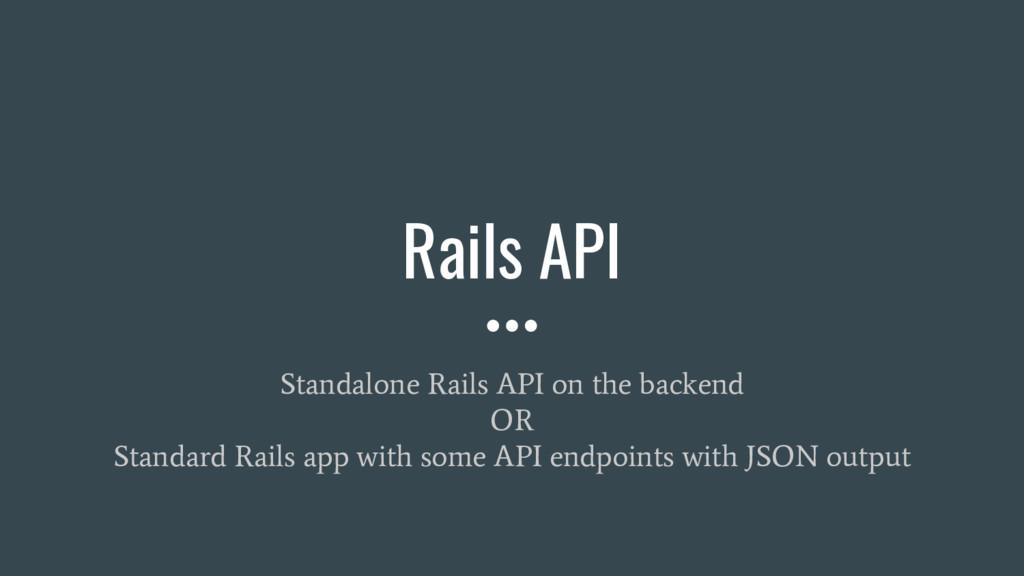 Rails API Standalone Rails API on the backend O...