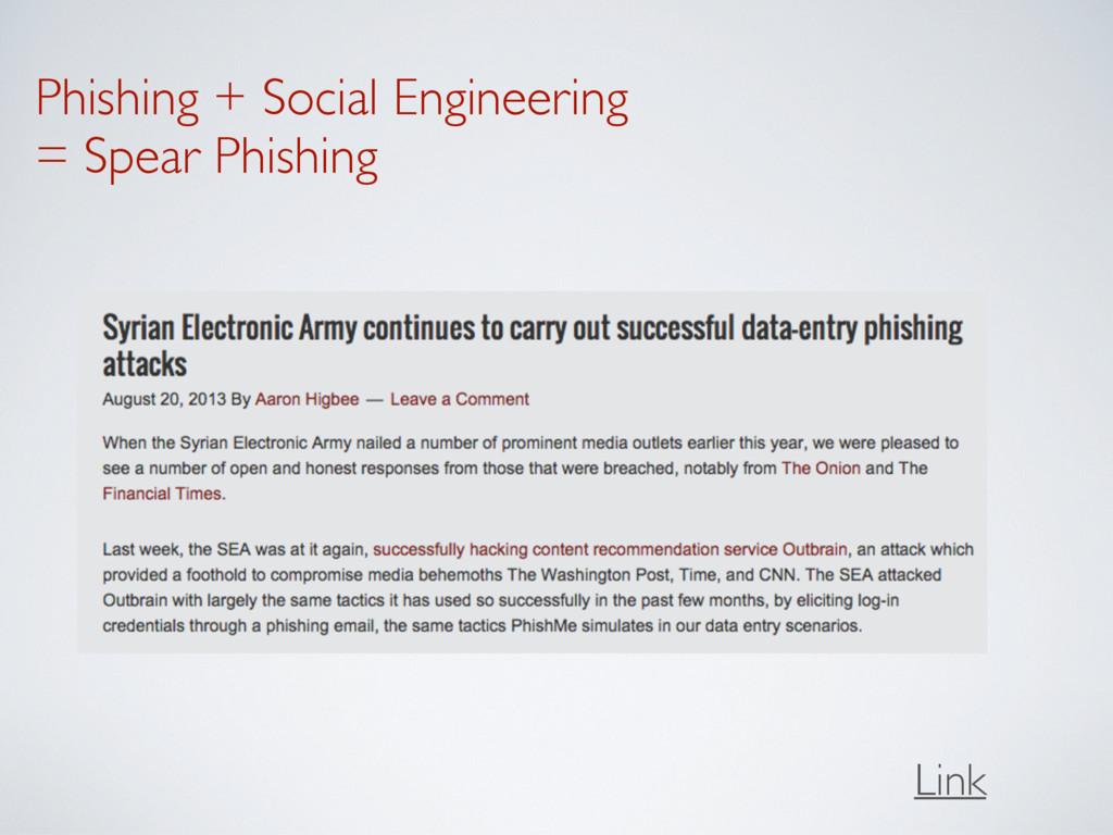 Phishing + Social Engineering = Spear Phishing...