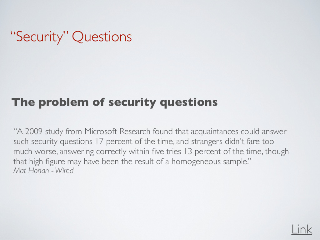 """""""Security"""" Questions The problem of security qu..."""