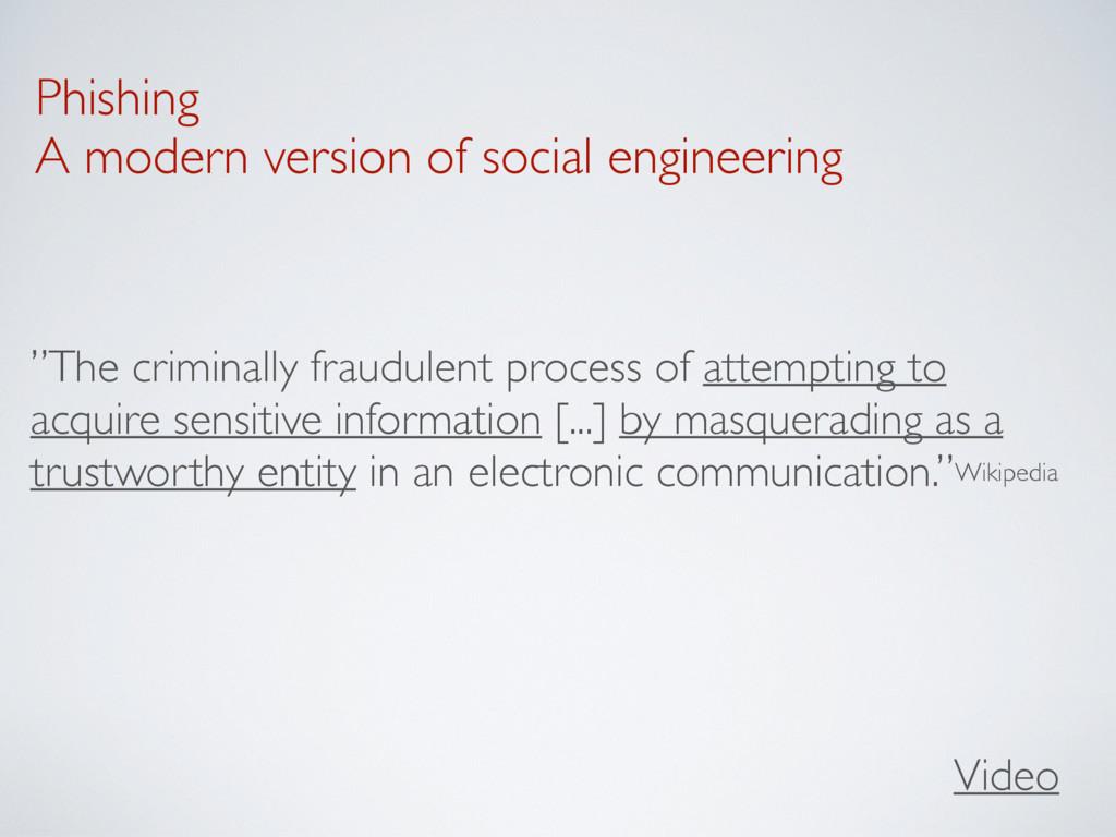 Phishing A modern version of social engineering...